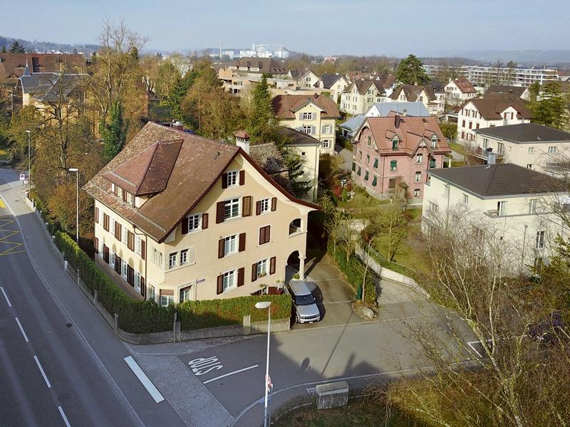Ergaten: Ecke Zürcherstrassse / Rebstrassse um 1905 und heute