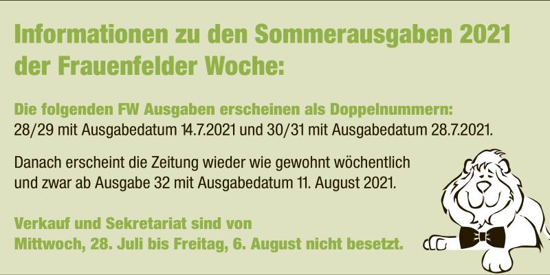 Informationen zu den Sommerausgaben 2021 der Frauenfelder Woche